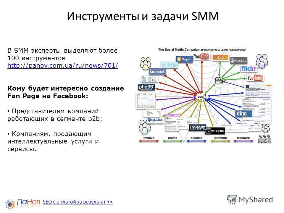 Инструменты и задачи SMM В SMM эксперты выделяют более 100 инструментов http://panov.com.ua/ru/news/701/ Кому будет интересно создание Fan Page на Facebook: Представителям компаний работающих в сегменте b2b; Компаниям, продающим интеллектуальные услу