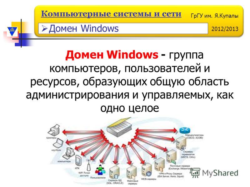 ГрГУ им. Я.Купалы 2012/2013 Компьютерные системы и сети Домен Windows - группа компьютеров, пользователей и ресурсов, образующих общую область администрирования и управляемых, как одно целое Домен Windows