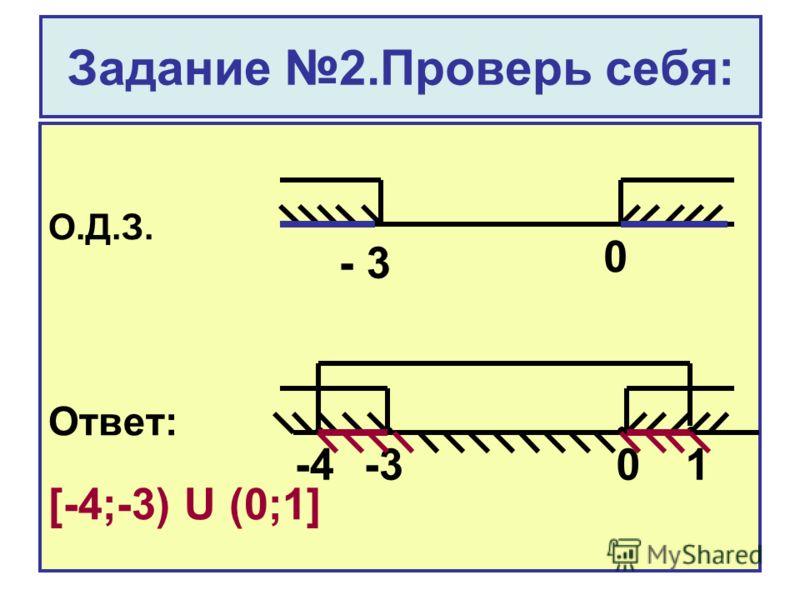Задание 2.Проверь себя: О.Д.З. Ответ: [-4;-3) U (0;1] - 3 0 -401