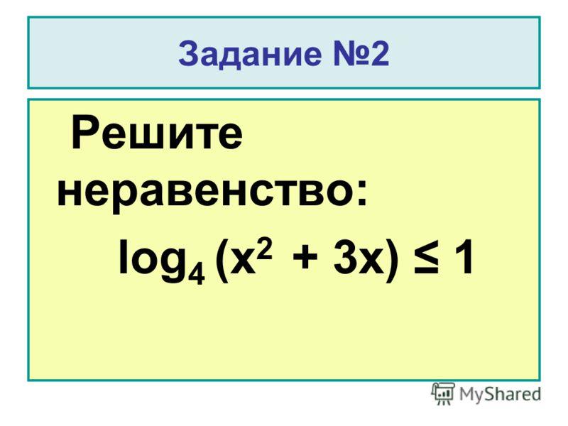 Задание 2 Решите неравенство: log 4 (x 2 + 3x) 1