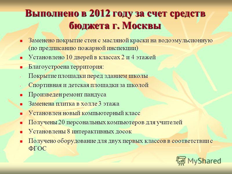 Выполнено в 2012 году за счет средств бюджета г. Москвы Заменено покрытие стен с масляной краски на водоэмульсионную (по предписанию пожарной инспекции) Заменено покрытие стен с масляной краски на водоэмульсионную (по предписанию пожарной инспекции)