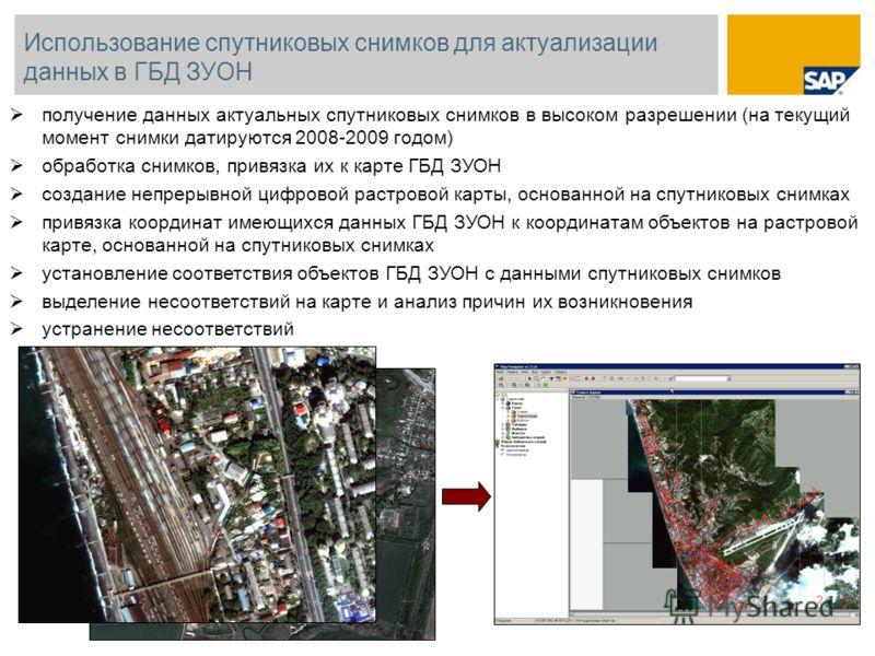 Использование спутниковых снимков для актуализации данных в ГБД ЗУОН получение данных актуальных спутниковых снимков в высоком разрешении (на текущий момент снимки датируются 2008-2009 годом) обработка снимков, привязка их к карте ГБД ЗУОН создание н