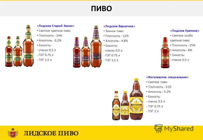 «Лидское Старый Замок» Светлое крепкое пиво Плотность - 14% Алкоголь - 6.2% Емкость: - стекло 0.5 л - ПЭТ 0.75 л - ПЭТ 1.5 л «Лидское Бархатное» Темное пиво Плотность - 12% Алкоголь - 4.8% Емкость: - стекло 0.5 л - ПЭТ 0.75 л - ПЭТ 1.5 л «Жигулевское