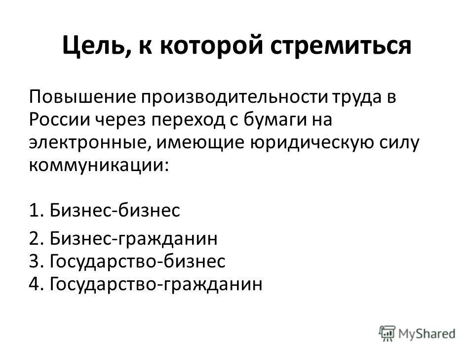 Цель, к которой стремиться Повышение производительности труда в России через переход с бумаги на электронные, имеющие юридическую силу коммуникации: 1. Бизнес-бизнес 2. Бизнес-гражданин 3. Государство-бизнес 4. Государство-гражданин