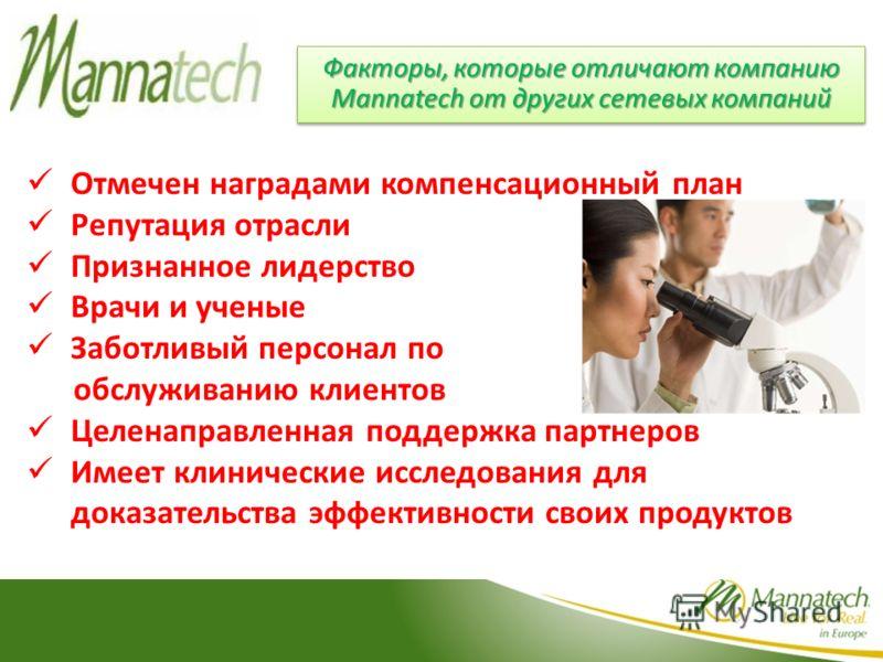 Факторы, которые отличают компанию Mannatech от других сетевых компаний Отмечен наградами компенсационный план Репутация отрасли Признанное лидерство Врачи и ученые Заботливый персонал по обслуживанию клиентов Целенаправленная поддержка партнеров Име