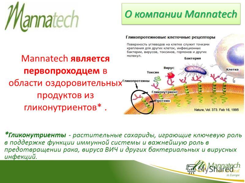 Mannatech является первопроходцем в области оздоровительных продуктов из гликонутриентов*. * Гликонутриенты - растительные сахариды, играющие ключевую роль в поддержке функции иммунной системы и важнейшую роль в предотвращении рака, вируса ВИЧ и друг