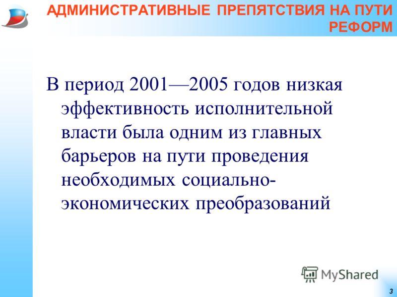 3 АДМИНИСТРАТИВНЫЕ ПРЕПЯТСТВИЯ НА ПУТИ РЕФОРМ В период 20012005 годов низкая эффективность исполнительной власти была одним из главных барьеров на пути проведения необходимых социально- экономических преобразований