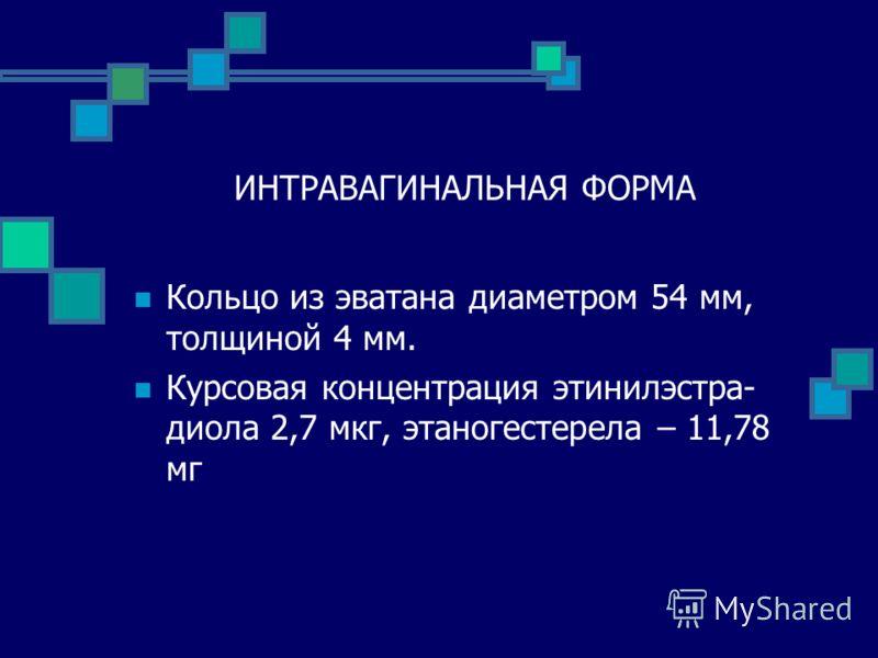 ИНТРАВАГИНАЛЬНАЯ ФОРМА Кольцо из эватана диаметром 54 мм, толщиной 4 мм. Курсовая концентрация этинилэстра- диола 2,7 мкг, этаногестерела – 11,78 мг