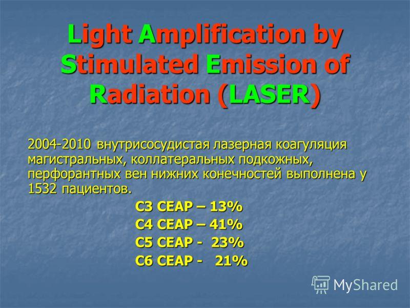 Light Amplification by Stimulated Emission of Radiation (LASER) 2004-2010 внутрисосудистая лазерная коагуляция магистральных, коллатеральных подкожных, перфорантных вен нижних конечностей выполнена у 1532 пациентов. С3 СЕАР – 13% С4 СЕАР – 41% С5 СЕА