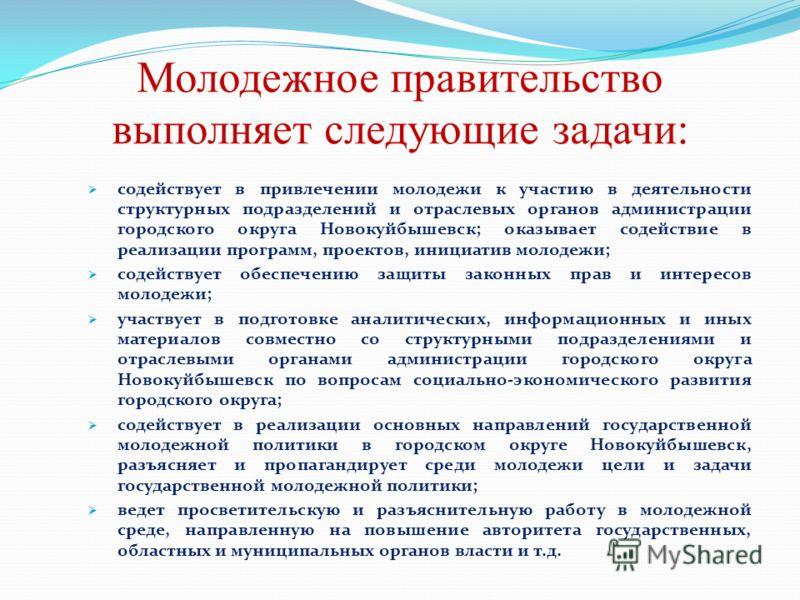 Молодежное правительство выполняет следующие задачи: содействует в привлечении молодежи к участию в деятельности структурных подразделений и отраслевых органов администрации городского округа Новокуйбышевск; оказывает содействие в реализации программ
