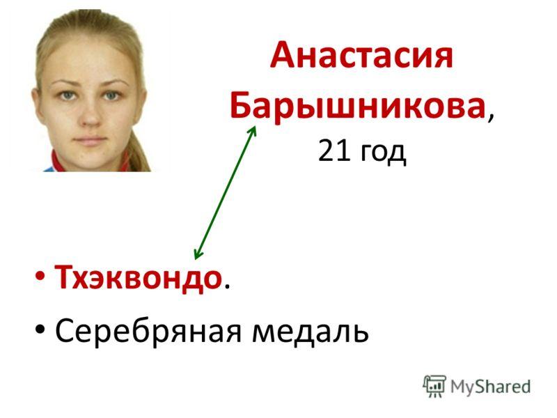 Анастасия Барышникова, 21 год Тхэквондо. Серебряная медаль