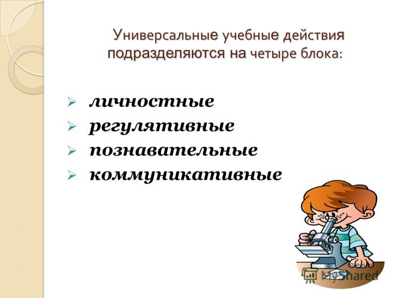 У ниверсальны е учебны е действи я подразделяются на четыре блока : У ниверсальны е учебны е действи я подразделяются на четыре блока : личностные регулятивные познавательные коммуникативные
