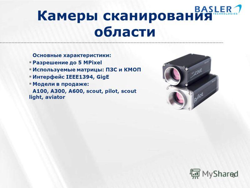 6 Камеры сканирования области Основные характеристики: Разрешение до 5 MPixel Используемые матрицы: ПЗС и КМОП Интерфейс IEEE1394, GigE Модели в продаже: A100, A300, A600, scout, pilot, scout light, aviator