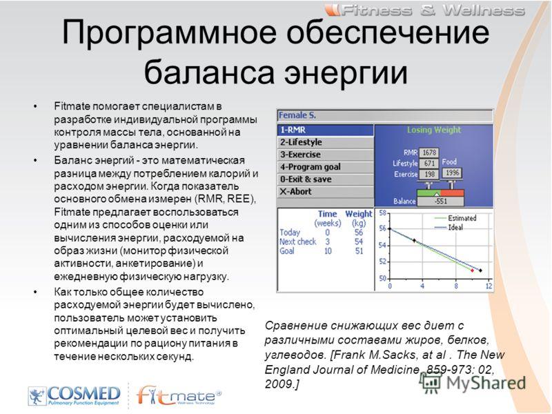 Программное обеспечение баланса энергии Fitmate помогает специалистам в разработке индивидуальной программы контроля массы тела, основанной на уравнении баланса энергии. Баланс энергий - это математическая разница между потреблением калорий и расходо