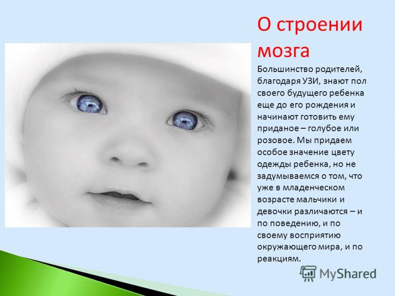 О строении мозга Большинство родителей, благодаря УЗИ, знают пол своего будущего ребенка еще до его рождения и начинают готовить ему приданое – голубое или розовое. Мы придаем особое значение цвету одежды ребенка, но не задумываемся о том, что уже в