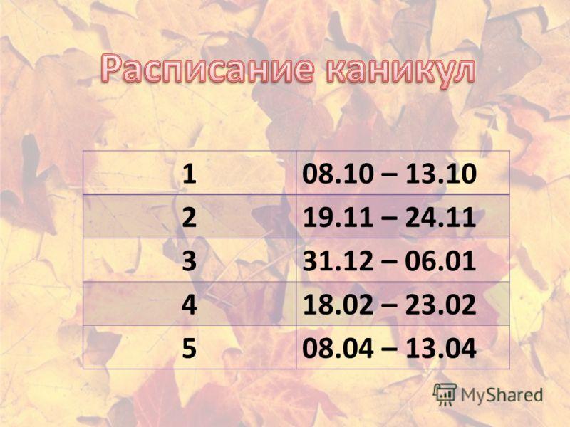 108.10 – 13.10 219.11 – 24.11 331.12 – 06.01 418.02 – 23.02 508.04 – 13.04