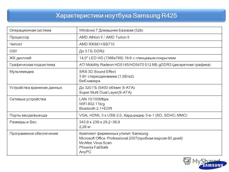 Характеристики ноутбука Samsung R425 Операционная системаWindows 7 Домашняя Базовая (32b) ПроцессорAMD Athlon II / AMD Turion II ЧипсетAMD RX881+SB710 ОЗУДо 3 ГБ DDR2 ЖК дисплей 14,0