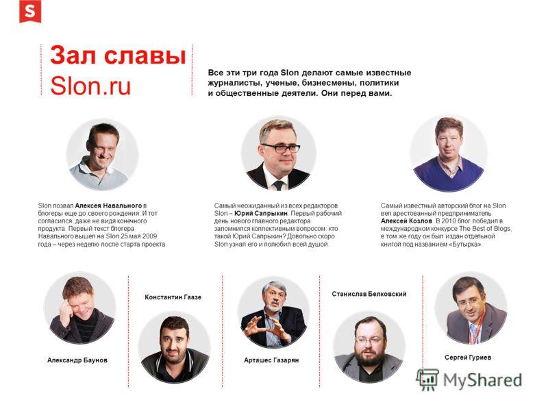 Зал славы Slon.ru Все эти три года Slon делают самые известные журналисты, ученые, бизнесмены, политики и общественные деятели. Они перед вами. Slon позвал Алексея Навального в блогеры еще до своего рождения. И тот согласился, даже не видя конечного