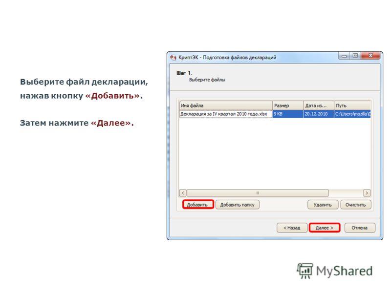 Выберите файл декларации, нажав кнопку «Добавить». Затем нажмите «Далее».
