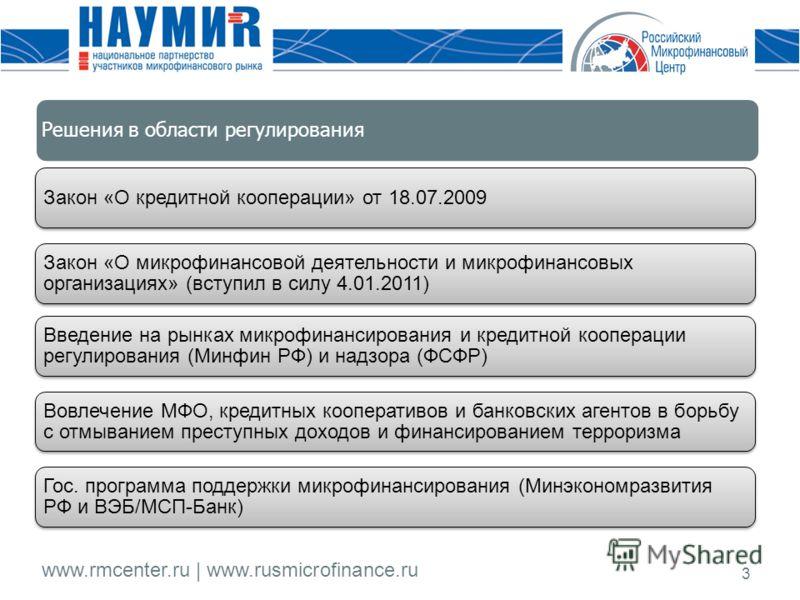 www.rmcenter.ru | www.rusmicrofinance.ru 3 Закон «О кредитной кооперации» от 18.07.2009 Закон «О микрофинансовой деятельности и микрофинансовых организациях» (вступил в силу 4.01.2011) Введение на рынках микрофинансирования и кредитной кооперации рег