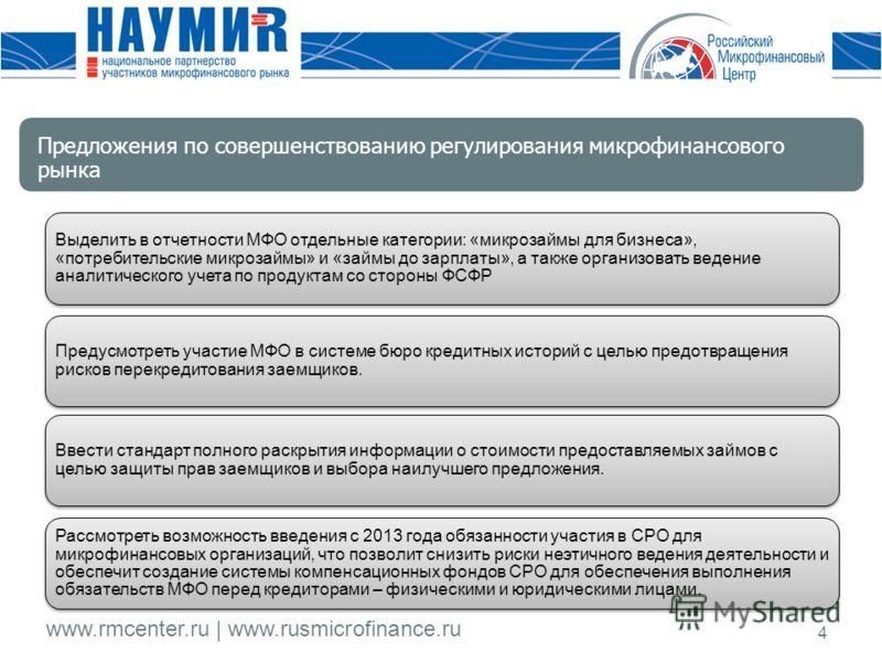 www.rmcenter.ru | www.rusmicrofinance.ru 4 Выделить в отчетности МФО отдельные категории: «микрозаймы для бизнеса», «потребительские микрозаймы» и «займы до зарплаты», а также организовать ведение аналитического учета по продуктам со стороны ФСФР Пре