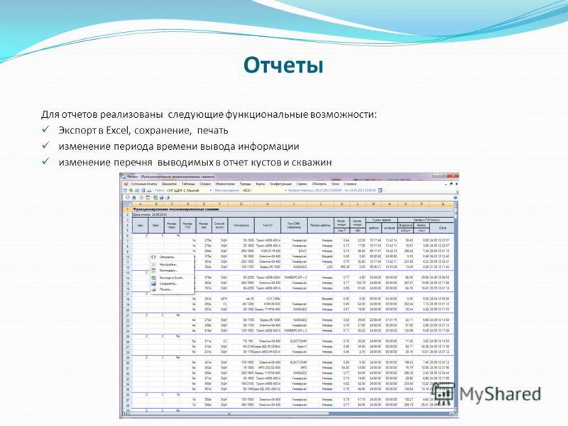 Отчеты Для отчетов реализованы следующие функциональные возможности: Экспорт в Excel, сохранение, печать изменение периода времени вывода информации изменение перечня выводимых в отчет кустов и скважин