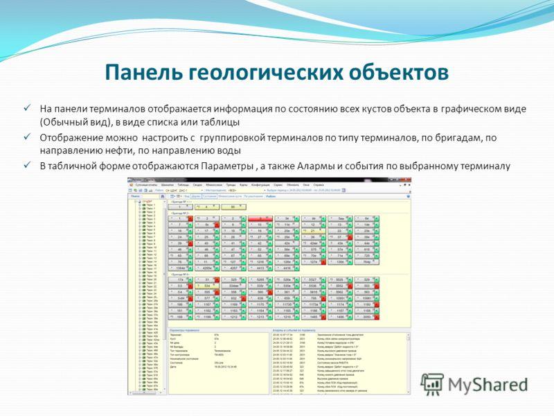 Панель геологических объектов На панели терминалов отображается информация по состоянию всех кустов объекта в графическом виде (Обычный вид), в виде списка или таблицы Отображение можно настроить с группировкой терминалов по типу терминалов, по брига