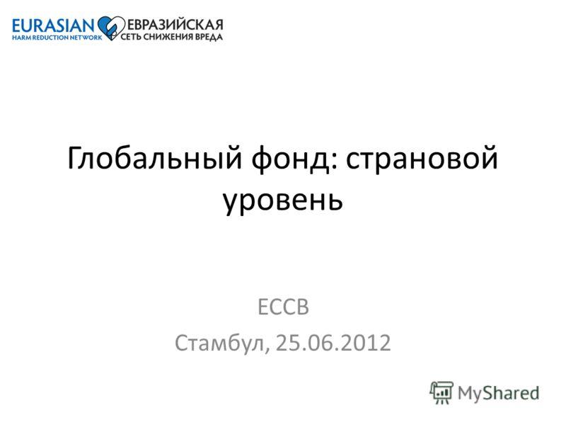 Глобальный фонд: страновой уровень ЕССВ Стамбул, 25.06.2012