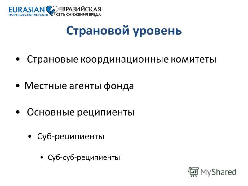 Страновой уровень Страновые координационные комитеты Местные агенты фонда Основные реципиенты Суб-реципиенты Суб-суб-реципиенты