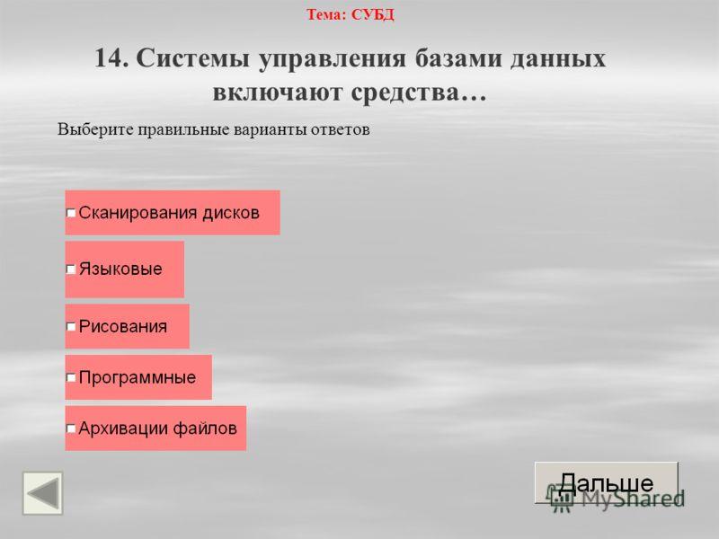 Тема: СУБД 14. Системы управления базами данных включают средства… Выберите правильные варианты ответов
