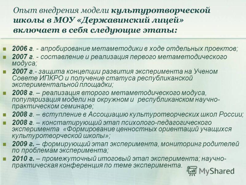 Опыт внедрения модели культуротворческой школы в МОУ «Державинский лицей» включает в себя следующие этапы: 2006 г. - апробирование метаметодики в ходе отдельных проектов; 2007 г. - составление и реализация первого метаметодического модуса; 2007 г.- з