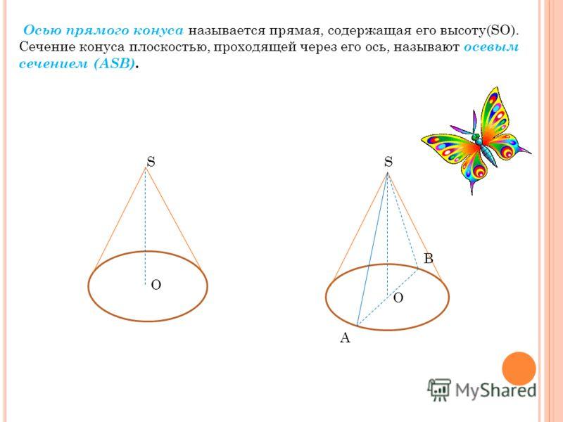 Осью прямого конуса называется прямая, содержащая его высоту(SO). Сечение конуса плоскостью, проходящей через его ось, называют осевым сечением (ASB). S O S O A B O