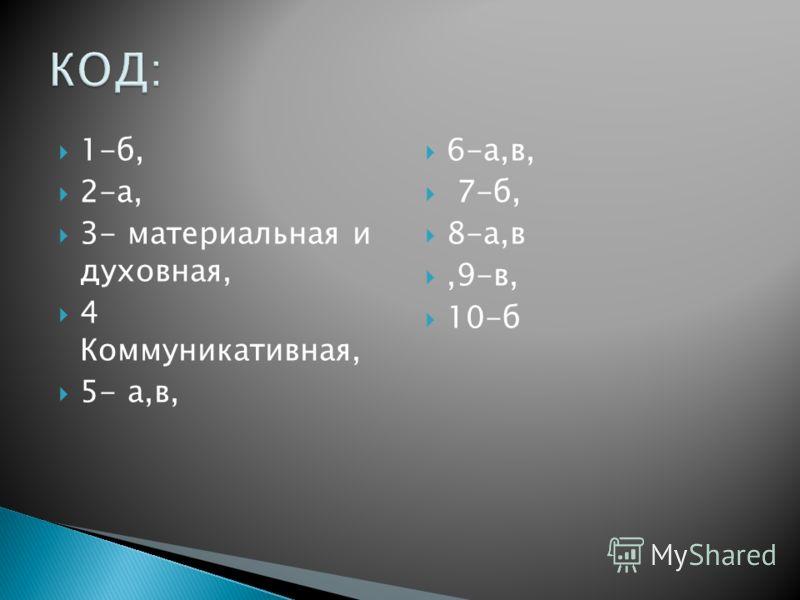 1-б, 2-а, 3- материальная и духовная, 4 Коммуникативная, 5- а,в, 6-а,в, 7-б, 8-а,в,9-в, 10-б