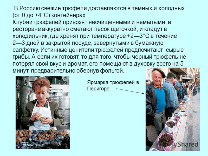 В Россию свежие трюфели доставляются в темных и холодных (от 0 до +4°C) контейнерах. Клубни трюфелей привозят неочищенными и немытыми, в ресторане аккуратно сметают песок щеточкой, и кладут в холодильник, где хранят при температуре +23°С в течение 23