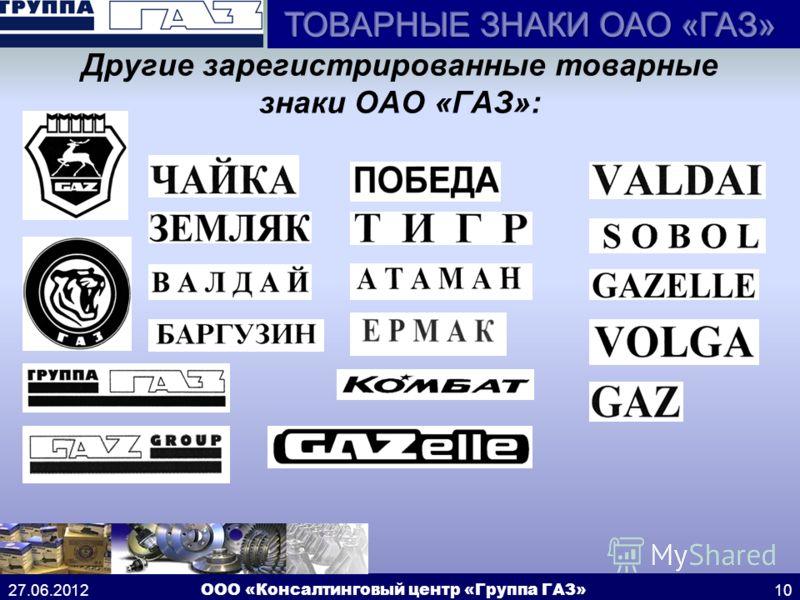 27.06.2012 ООО «Консалтинговый центр «Группа ГАЗ»10 Другие зарегистрированные товарные знаки ОАО «ГАЗ»: