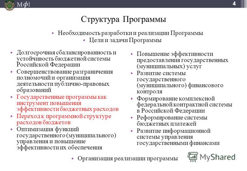 М ] ф 4 Структура Программы Долгосрочная сбалансированность и устойчивость бюджетной системы Российской Федерации Совершенствование разграничения полномочий и организация деятельности публично-правовых образований Государственные программы как инстру