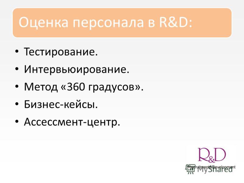 Оценка персонала в R&D: Тестирование. Интервьюирование. Метод «360 градусов». Бизнес-кейсы. Ассессмент-центр.