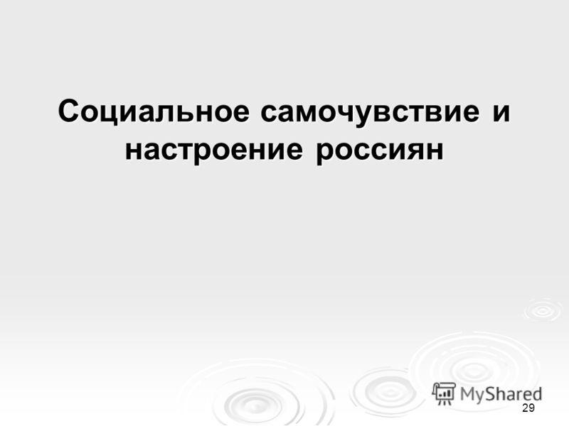 29 Социальное самочувствие и настроение россиян