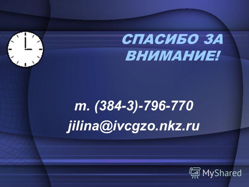 СПАСИБО ЗА ВНИМАНИЕ! т. (384-3)-796-770 jilina@ivcgzo.nkz.ru