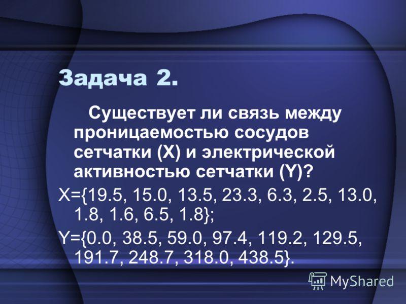 Задача 2. Существует ли связь между проницаемостью сосудов сетчатки (Х) и электрической активностью сетчатки (Y)? Х={19.5, 15.0, 13.5, 23.3, 6.3, 2.5, 13.0, 1.8, 1.6, 6.5, 1.8}; Y={0.0, 38.5, 59.0, 97.4, 119.2, 129.5, 191.7, 248.7, 318.0, 438.5}.