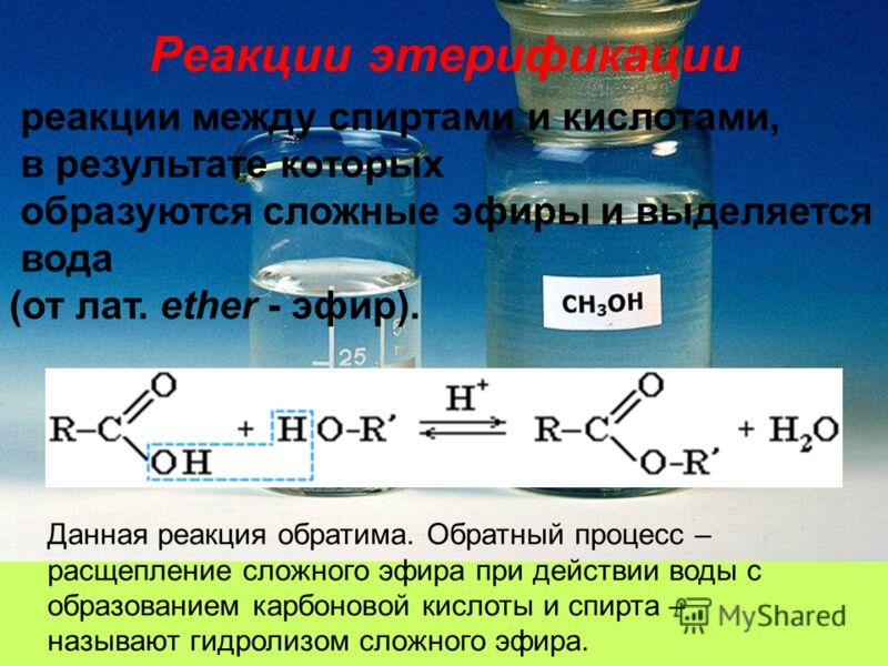 Реакции этерификации реакции между спиртами и кислотами, в результате которых образуются сложные эфиры и выделяется вода (от лат. ether - эфир). Данная реакция обратима. Обратный процесс – расщепление сложного эфира при действии воды с образованием к