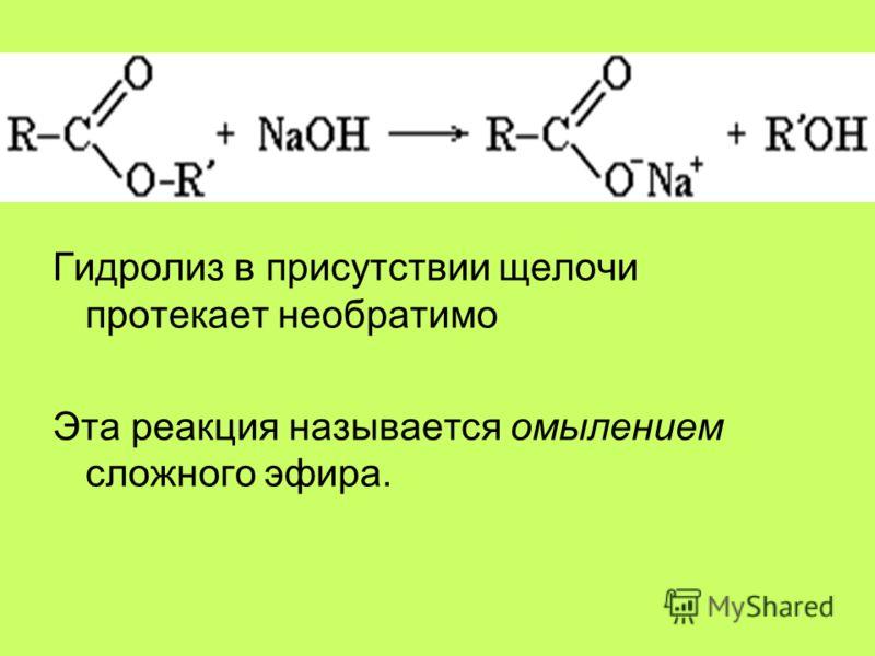 Гидролиз в присутствии щелочи протекает необратимо Эта реакция называется омылением сложного эфира.