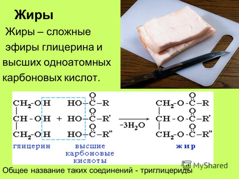 Жиры Жиры – сложные эфиры глицерина и высших одноатомных карбоновых кислот. Общее название таких соединений - триглицериды