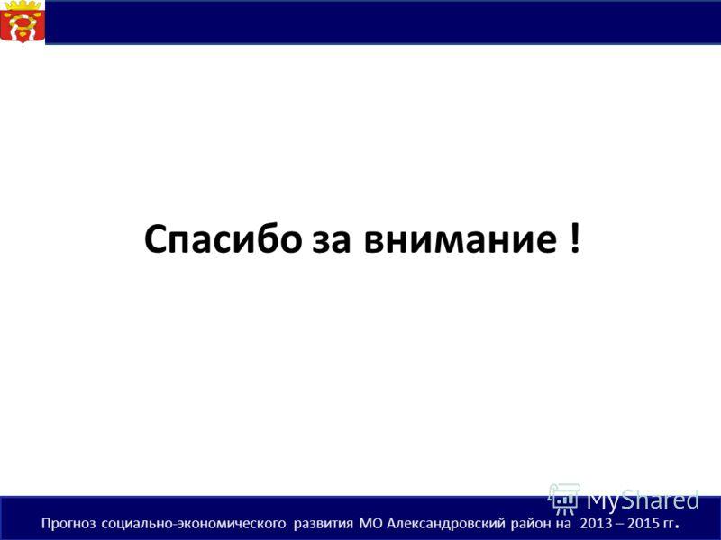 Спасибо за внимание ! 20 Прогноз социально-экономического развития МО Александровский район на 2013 – 2015 гг.