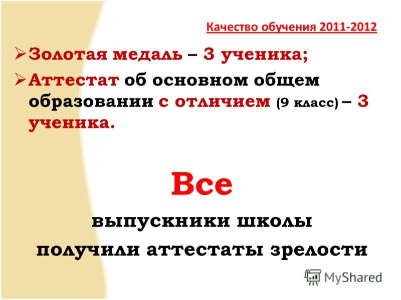 Качество обучения 2011-2012 Золотая медаль – 3 ученика; Аттестат об основном общем образовании с отличием (9 класс) – 3 ученика. Все выпускники школы получили аттестаты зрелости