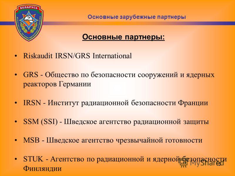 15 Основные партнеры: Riskaudit IRSN/GRS International GRS - Общество по безопасности сооружений и ядерных реакторов Германии IRSN - Институт радиационной безопасности Франции SSM (SSI) - Шведское агентство радиационной защиты MSB - Шведское агентств