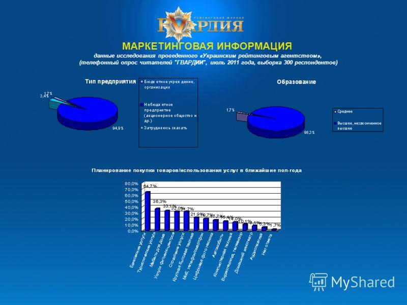 МАРКЕТИНГОВАЯ ИНФОРМАЦИЯ данные исследования проведенного «Украинским рейтинговым агентством», (телефонный опрос читателей ГВАРДИИ, июль 2011 года, выборка 300 респондентов)