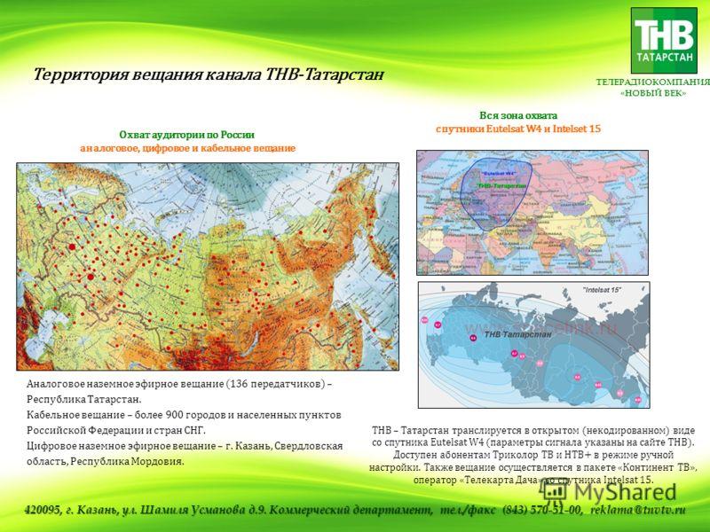 ТЕЛЕРАДИОКОМПАНИЯ «НОВЫЙ ВЕК» Охват аудитории по России аналоговое, цифровое и кабельное вещание Вся зона охвата спутники Eutelsat W4 и Intelset 15 ТНВ – Татарстан транслируется в открытом (некодированном) виде со спутника Eutelsat W4 (параметры сигн