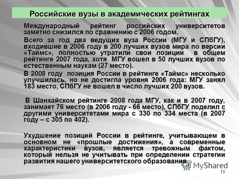 13 Российские вузы в академических рейтингах Международный рейтинг российских университетов заметно снизился по сравнению с 2006 годом. Международный рейтинг российских университетов заметно снизился по сравнению с 2006 годом. Всего за год два ведущи