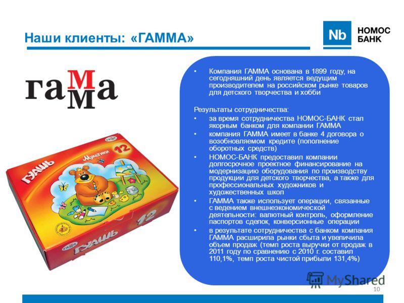 10 Наши клиенты: «ГАММА» Компания ГАММА основана в 1899 году, на сегодняшний день является ведущим производителем на российском рынке товаров для детского творчества и хобби Результаты сотрудничества: за время сотрудничества НОМОС-БАНК стал якорным б
